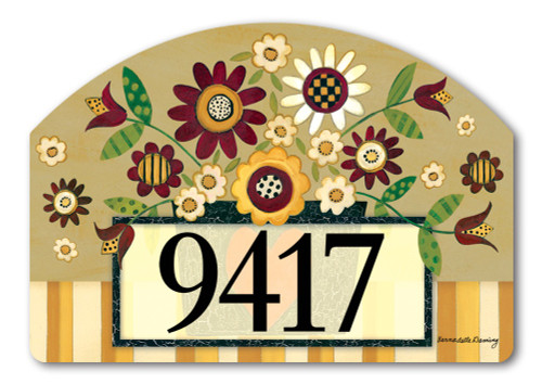"Primitive Posies Yard DeSign Address Sign - 14"" x 10"""