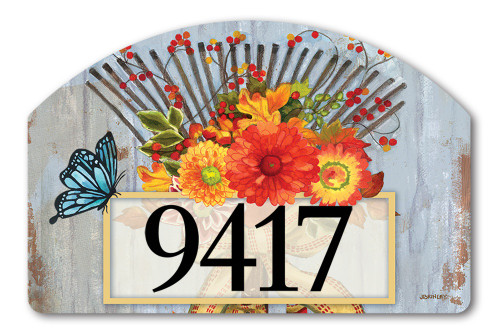 "Time to Rake Yard DeSign Address Sign - 14"" x 10"""