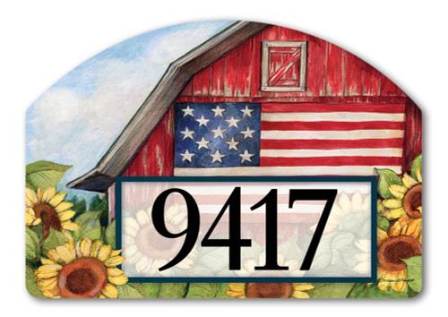 "Old Glory Barn Yard DeSign Address Sign - 14"" x 10"""