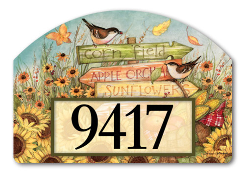 "Signs of Fall Yard DeSign Address Sign - 14"" x 10"""