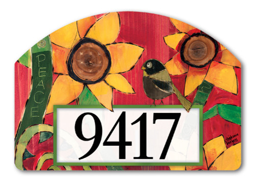 "Peace Sunflower Yard DeSign Address Sign - 14"" x 10"""