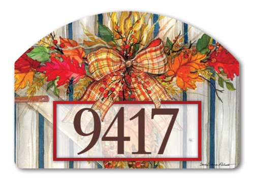 "Autumn Gate Yard DeSign Address Sign - 14"" x 10"""