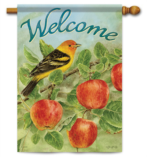 "Apples & Tanager House Flag - 28"" X 40"" - 2 Sided Message"