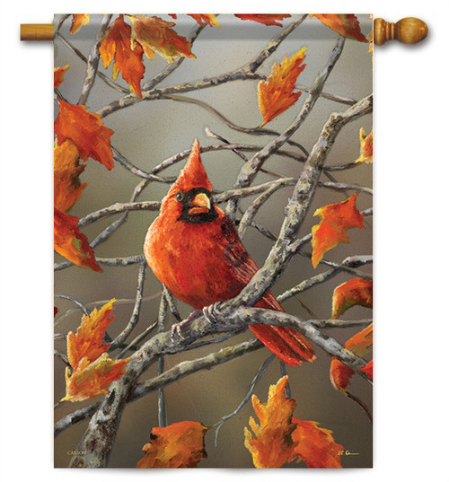 "Autumn Leaves Cardinal House Flag - 28"" X 40"" - Flag Trends"