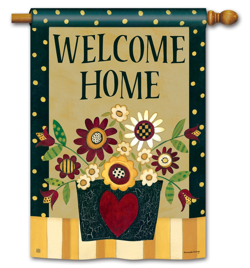 "Primitive Posies House Flag - 28"" x 40"" - BreezeArt"