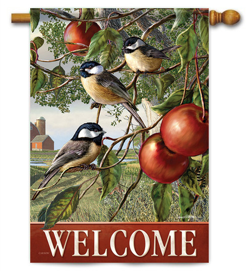 "Chickadees And Apple Branch House Flag - 28"" X 40"" - 2 Sided Message"