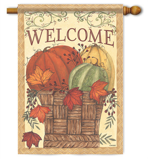 "Harvest Basket House Flag - 28"" X 40"" - 2 Sided Message - Flag Trends"