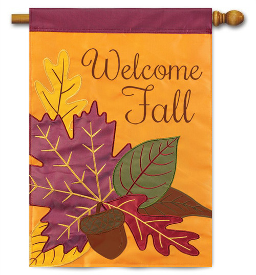 "Fall Leaves Applique House Flag - 28"" X 40"" - 2 Sided Message - Flag Trends"
