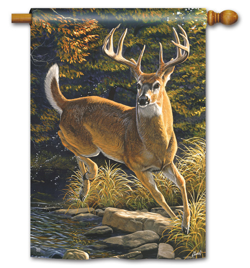 "Whitetail Buck House Flag - 28"" x 40"" - BreezeArt"