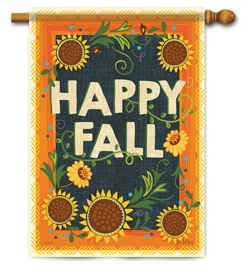 "Happy Fall House Flag - 28"" X 40"" - 2 Sided Message - Flag Trends"
