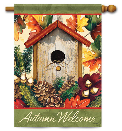 "Autumn Birdhouse House Flag - 28"" X 40"" - 2 Sided Message - Flag Trends"