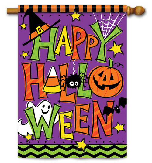"Happy Halloween House Flag - 28"" X 40"" - 2 Sided Message - Flag Trends"