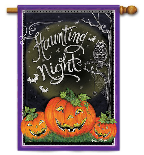 "Haunting Night Halloween House Flag - 28"" X 40"" - 2 Sided Message"