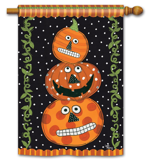 "Pumpkin Faces House Flag - 28"" x 40"" - BreezeArt"