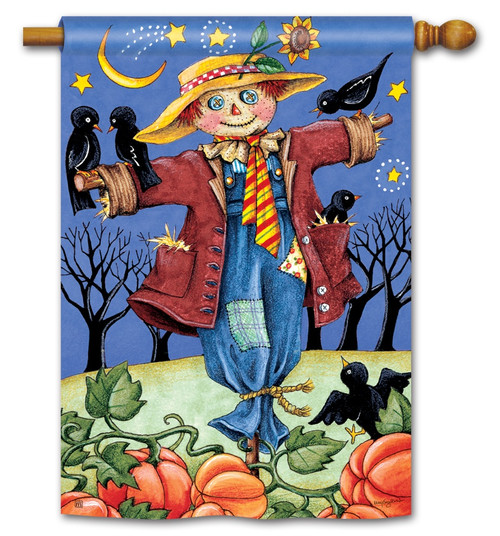 "Moonlight Scarecrow House Flag - 28"" x 40"" - BreezeArt"