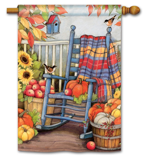 "Autumn Porch House Flag - 28"" x 40"" - BreezeArt"