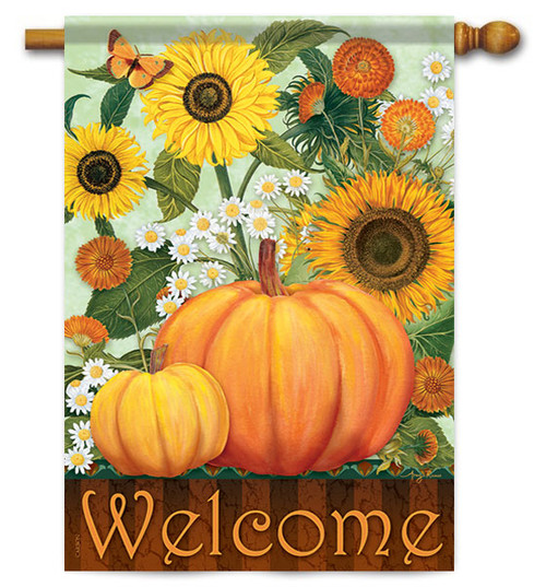 "Sunflower Pumpkins House Flag - 28"" X 40"" - 2 Sided Message - Flag Trends"