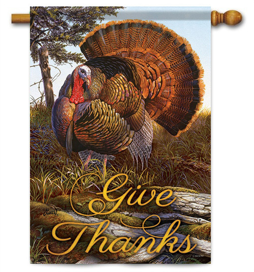 "Give Thanks Turkey House Flag - 28"" X 40"" - 2 Sided Message - Flag Trends"