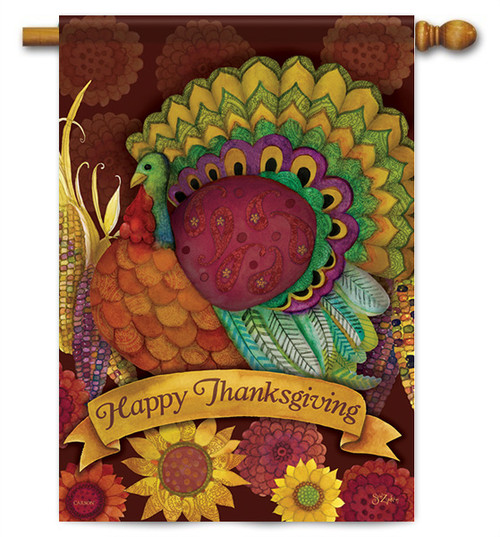 "Colorful Turkey Thanksgiving House Flag - 28"" X 40"" - 2 Sided Message  - Flag Trends"