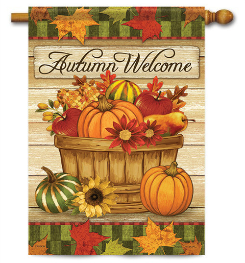 "Autumn Basket House Flag - 28"" X 40"" - 2 Sided Message - Flag Trends"