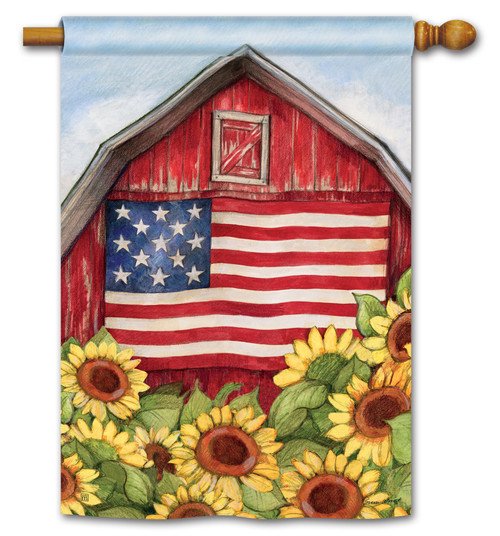 "Old Glory Barn House Flag - 28"" x 40"" - BreezeArt"