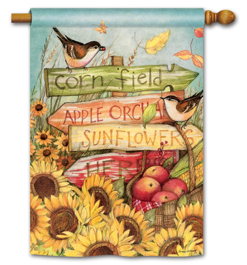 "Signs of Fall House Flag - 28"" x 40"" - BreezeArt"
