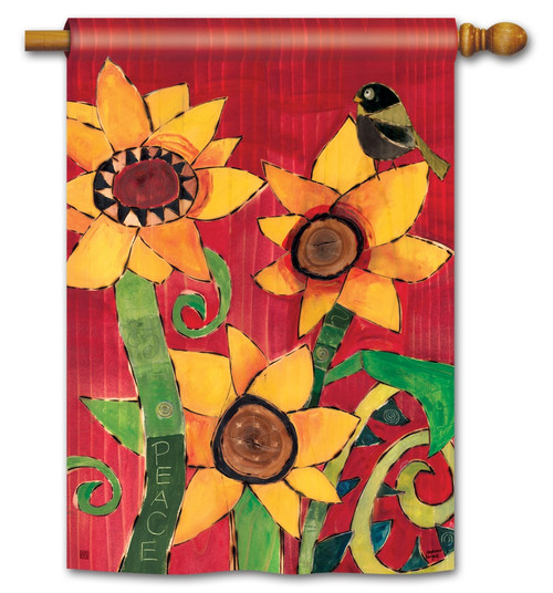 "Peace Sunflower House Flag - 28"" x 40"" - BreezeArt"