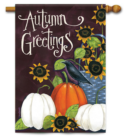 "Autumn Greetings House Flag - 28"" X 40"" - 2 Sided Message - Flag Trends"