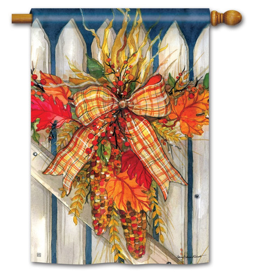 "Autumn Gate House Flag - 28"" x 40"" - BreezeArt"