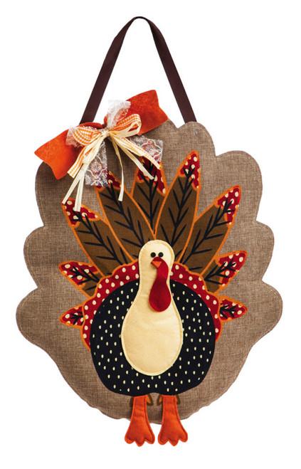 "Turkey Time Thanksgiving Door Decor - 21"" x 23"""
