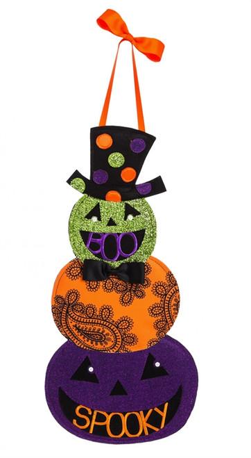 """Tall Hat Jack-o-Lantern Halloween Door Decor - 23"""" x 11"""""""