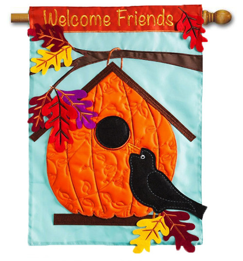 "Pumpkin Birdhouse House Applique Flag - 28"" x 44"" - 2 Sided Message"