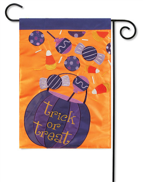 "Halloween Candy Applique Garden Flag - 13 "" x 18"" - 2 Sided Message"