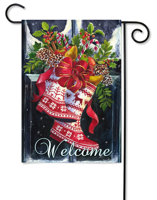 "Norwegian Christmas Wellies Garden Flag - 12.5"" x 18"" - 2 Sided Message"