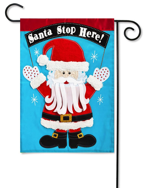 "Santa Stop Here Applique Garden Flag - 12.5"" x 18"" - 2 Sided Message"