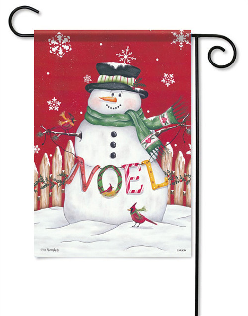"Noel Snowman Garden Flag - 13 "" x 18"" - 2 Sided Message"