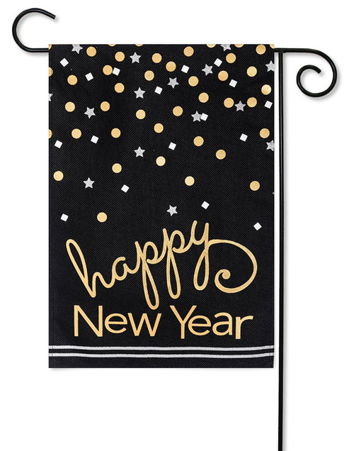 "Happy New Year Burlap Garden Flag - 12.5"" x 18"" - 2 Sided Message"