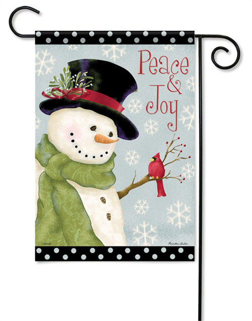 "Peace & Joy Snowman Garden Flag - 13 "" x 18"" - 2 Sided Message"
