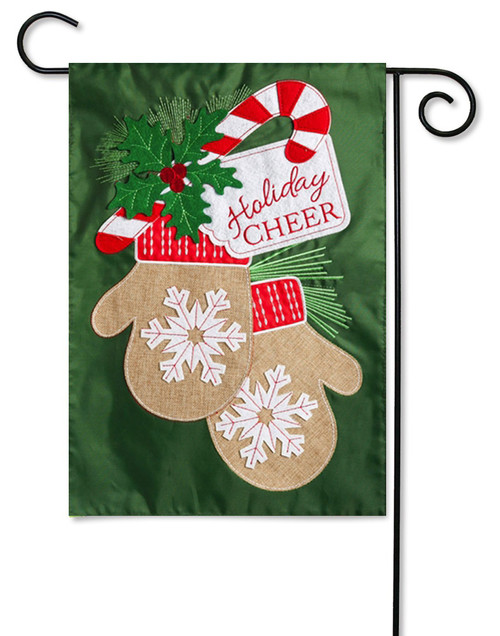 Applique Garden Flag Holiday Cheer Mittens