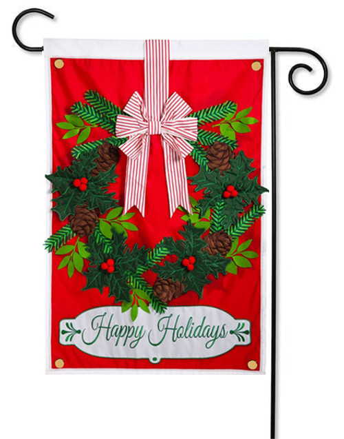 Applique Garden Flag Holiday Wreath