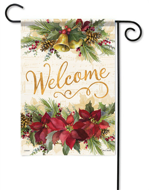 "Poinsettia Elegance Garden Flag - 13 "" x 18"" - 2 Sided Message"