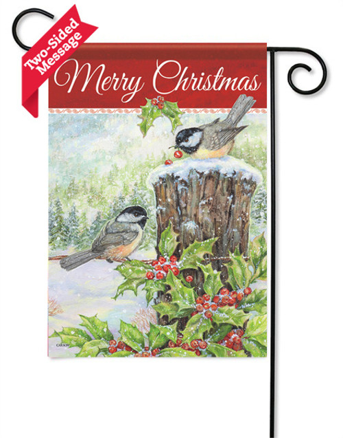 "Christmas Chickadees Garden Flag - 13 "" x 18"" - 2 Sided Message"