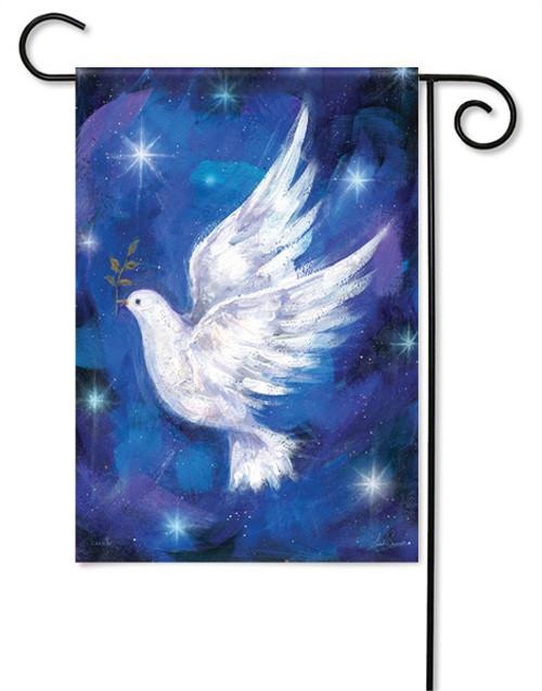 """Christmas Dove Garden Flag - 13 """" x 18"""" - Glitter"""