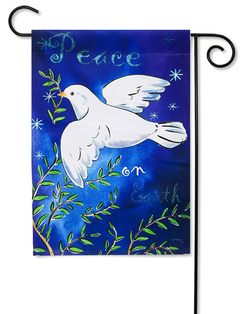 "Peace on Earth Garden Flag - 12.5"" x 18"" - 2 Sided Message"