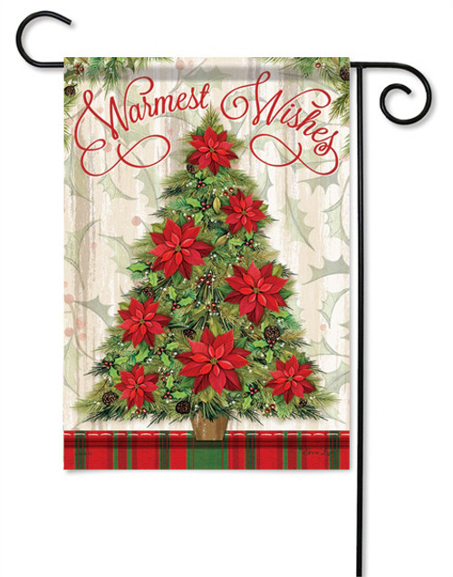 "Warmest Wishes Tree Christmas Garden Flag - 13 "" x 18"" - 2 Sided Message"