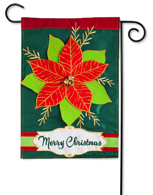 "Merry Christmas Poinsettia Applique Garden Flag - 12.5"" x 18"" - 2 Sided Message"