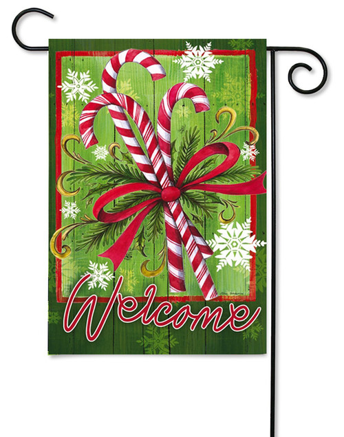 "Candy Canes and Ribbon Garden Flag - 12.5"" x 18"" - 2 Sided Message"