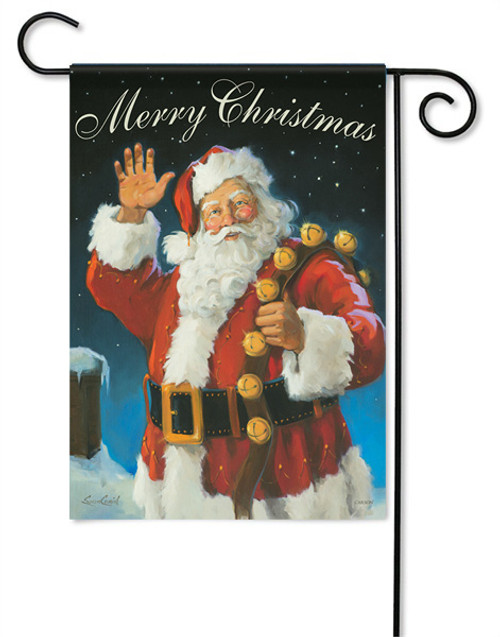 "Merry Christmas Santa Garden Flag - 13 "" x 18"" - 2 Sided Message - Glitter"