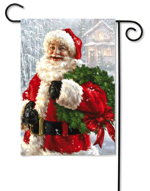 "Santa's Wreath Christmas Garden Flag - 12.5"" x 18"""