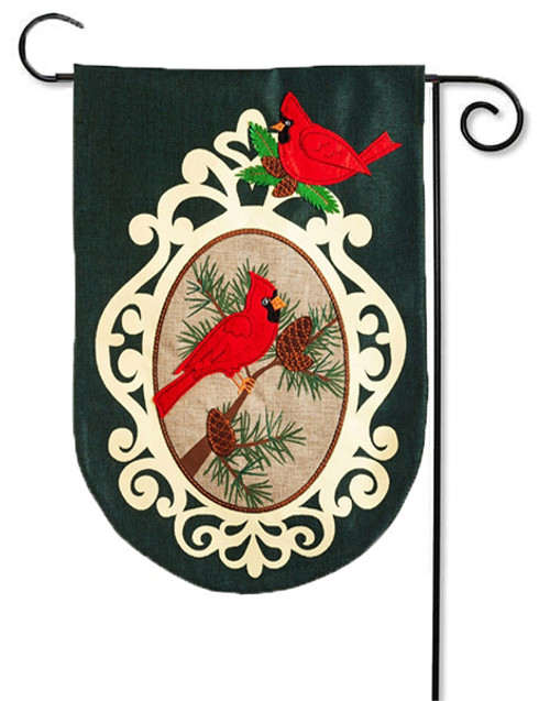"Holiday Birds Burlap Garden Flag - 12.5"" x 18"""